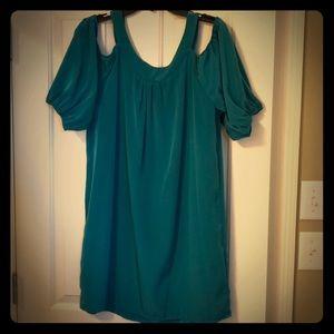 Cold shoulder green dress